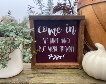Welcome come in cute rustic farmhouse style framed square small sign tiered tray accent gift