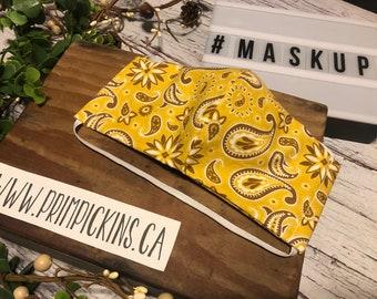 Yellow & brown Paisley, Washable, Reusable handmade fabric face mask
