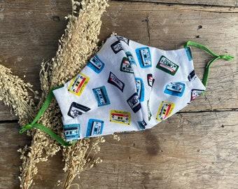 Mix tape music radio print Reusable washable handmade fabric face mask With adjustable ear loop elastic