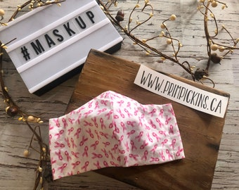 Breast Cancer Awareness Ribbons, Washable, Reusable handmade fabric face mask