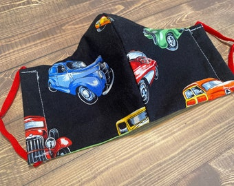 Classic Cars Washable reusable fabric face mask  // EAR LOOP //