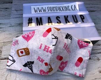 SALE Nurse Care, Washable, Reusable handmade fabric face mask