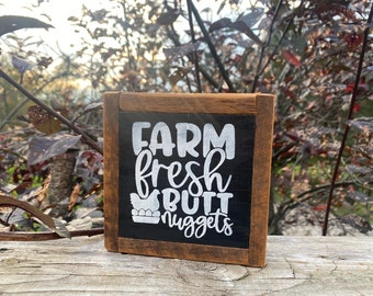 Farm fresh butt nuggets egg chicken rustic farmhouse style framed square small sign tiered tray accent gift