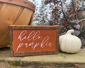 Hello pumpkin cute rectangular rustic farmhouse style framed small sign tiered tray