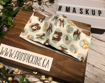 Blue Dot Animals, Washable, Reusable handmade fabric face mask