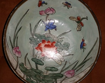 Huge Beautiful Vintage Chinese Porcelain Bowl and Plate. Signed on Bottom.