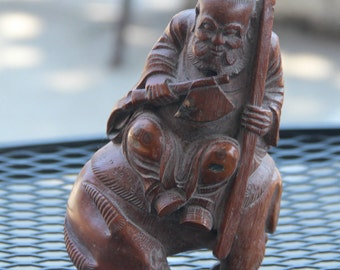 Very Beautiful Chinese Hand Carved Bamboo Old Man Rides the Ox Statue.