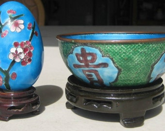 Beautiful Vintage Chinese Blue Cloisonne Enamel Brass Bowl and Egg.