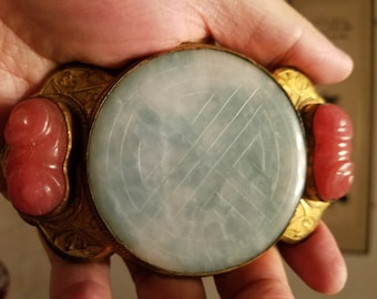 Very Beautiful and Old Chinese Gilt Bronze Belt Hook with Jadeite and Peking Glass