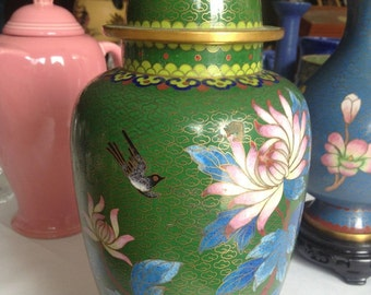 Beautiful Vintage Chinese Cloisonne Ginger Jar with Stand.