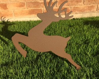 Leaping Reindeer - 13 - Metal Yard Art, Christmas Lawn Decor, Outdoor Christmas Decorations