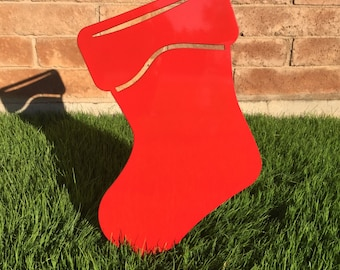 Stocking - 15 - Metal Yard Art, Christmas Lawn Decor, Outdoor Christmas Decorations