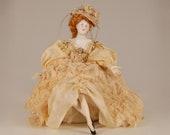 Antique French Boudoir jewellry box German porcelain half doll Dresden Volkstedt