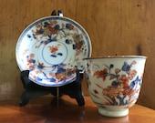 Antique Chinese porcelain Kangxi 18C tea bowl cup and saucer Chinese Imari