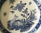 Rare Chinese Ceramic porcelain dish plate 18th c Bleu de hue insects pigs peony