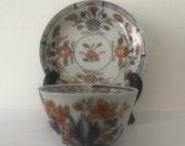 Antique Chinese imari porcelain tea bowl Cup saucer 18C pre 1800 Qing iron red