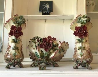 Victorian Art Nouveau Barbotine Majolica Pottery Planter set Vases jardiniere Mantle set