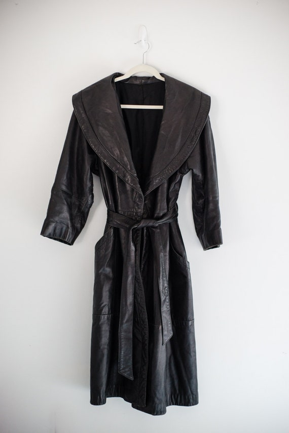Black Leather Full Length Jacket Belted Robe Style
