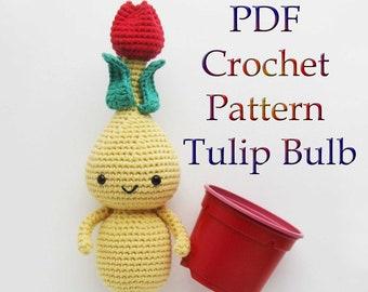 Amigurumi Tulip Bulb Doll Crochet pattern with Instant Download pdf Cute crocheting Toys Flower