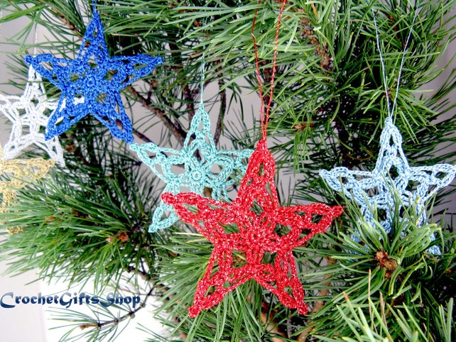 Christmas crochet ornament pattern Star PDF Instant Download | Etsy