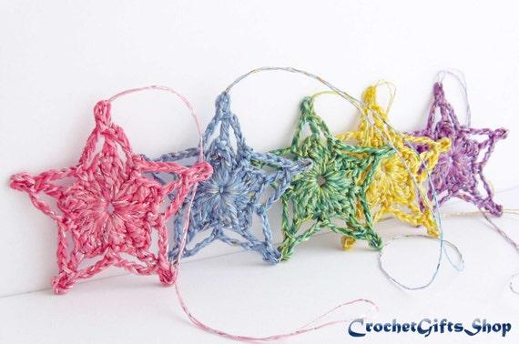 Crochet Patterns Christmas Star Ornaments Pdf Pattern Xmas Etsy