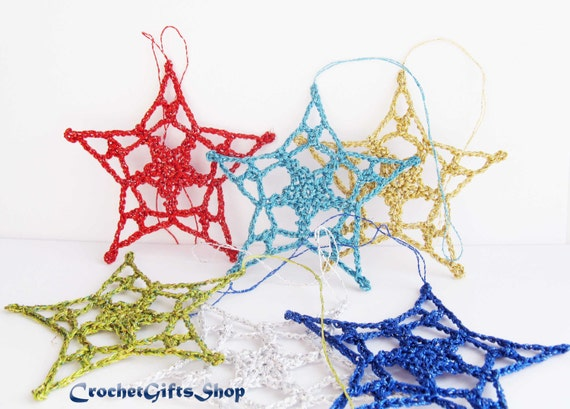 Christmas Crochet Ornament Pattern Star Xmas Pdf Instant Etsy