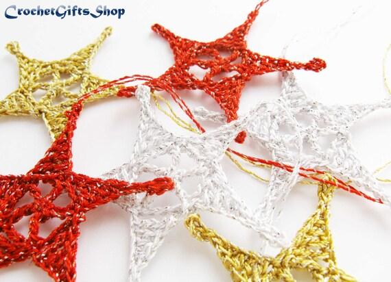 Crochet Christmas Star Ornaments Xmas Pdf Pattern Instant Etsy