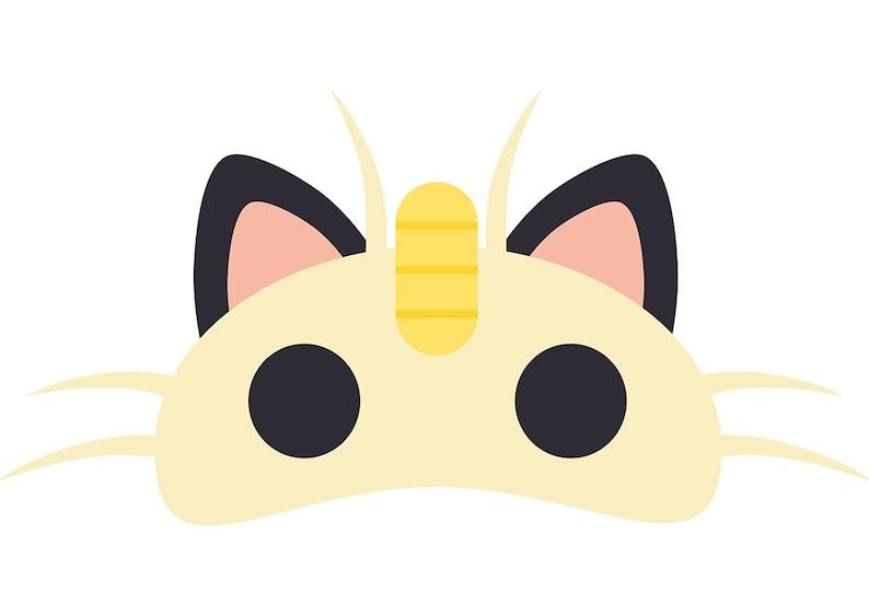 image relating to Pokemon Mask Printable titled Meowth (Pokemon) Printable Mask