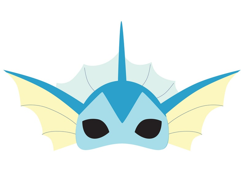 image relating to Pokemon Mask Printable identified as Vaporeon (Pokemon) Printable Mask