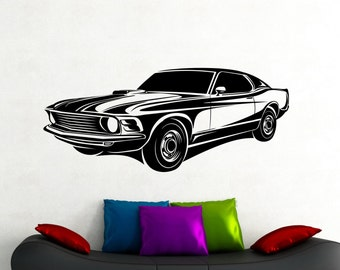 Muscle Car Wall Decal Racing Stickers Home Interior Design Etsy
