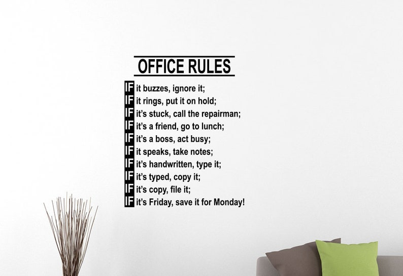 office rules wall decal funny work teamwork inspirational | etsy