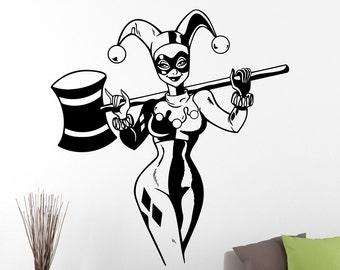Harley Quinn Wall Decal Marvel Comics Superhero Sticker Home Decor Wall Art Decals for Nursery Vinyl Art Removable Stickers 3hzz