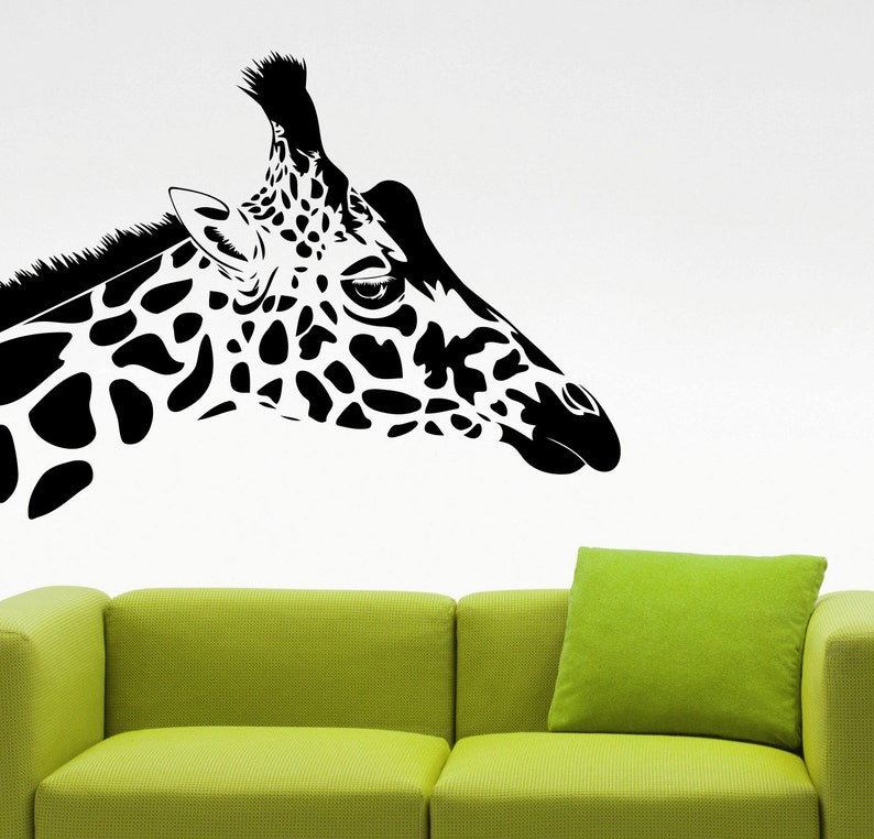 giraffe head wall sticker animal vinyl decal living room decor | etsy