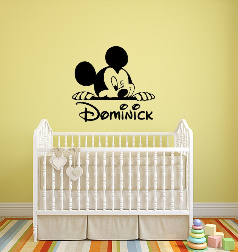 mickey mouse custom name wall decal personalized walt disney | etsy