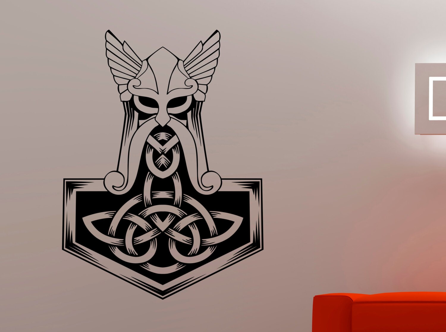Thors Hammer Wall Sticker Vinyl Decal Home Interior Etsy