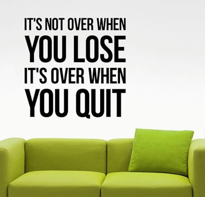 It/'s Not Over When You Lose Fitness Inspirational Quote Wall Decal Gym Motivational Vinyl Sticker Art Home Office Living Room Decor 17efuns