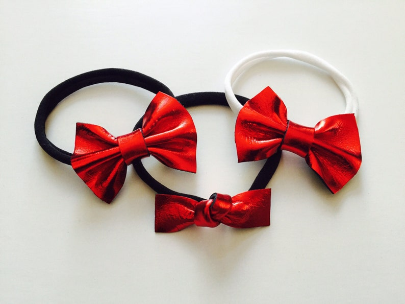 Red leather knot bow