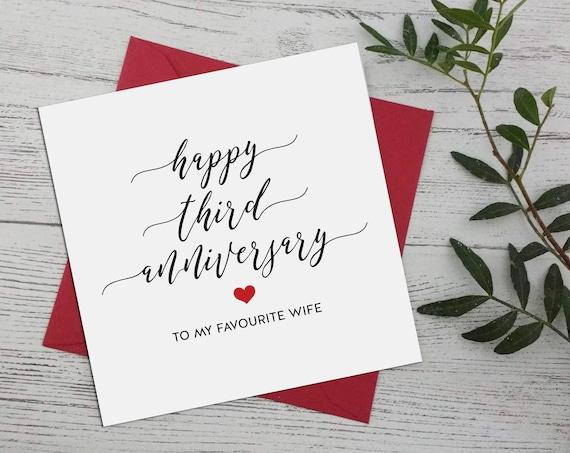Terzo Anniversario Di Matrimonio.Terzo Anniversario Felice 3 Anniversario Di Matrimonio Etsy