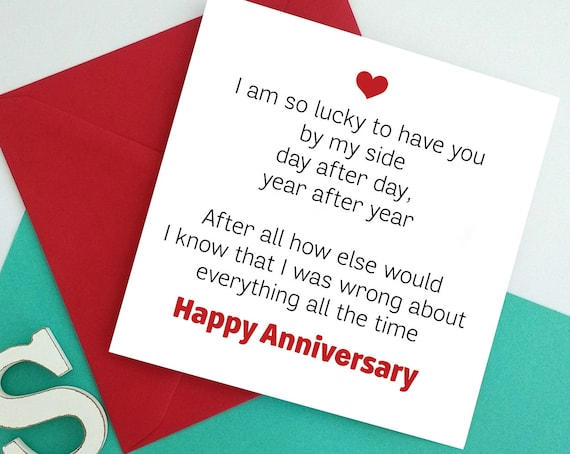 Funny wedding anniversary greeting card for husband wife etsy image 0 m4hsunfo