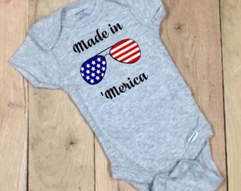 c561b87f Made in merica onesie® american flag Merica Flag 4th of July Baby Bodysuit,  Baby shower gift, First birthday, Baby gifts, Baby shirt, Baby O