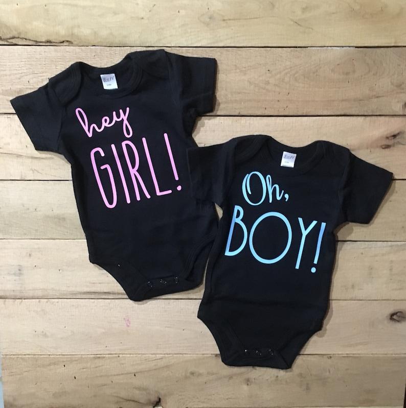 71775c2c94010 Gender reveal Onesie® , suprise gender reveal, gender reveal ideas, unisex  onesie, baby onesie, cute onesie, hey girl, oh boy, baby shower