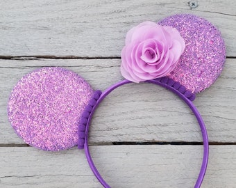 9ca966b3994a PURPLE FLORAL MOUSE Ears Headband - Lavender Flower Minnie Mouse Ears