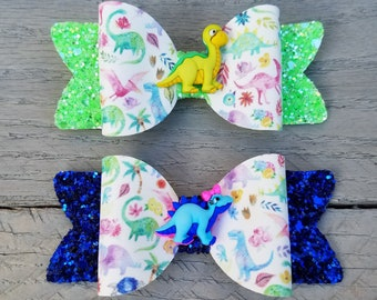 Watercolor Dinosaur Jelly Glitter Hair Bow  Dino Print Headband Hair Clip  Girls Toddler Baby Bow Headband