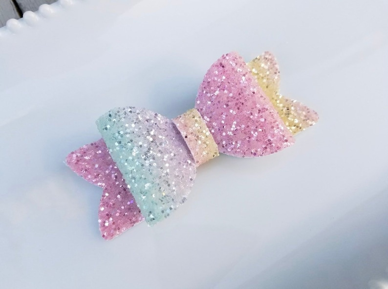 beded5b2622f PASTEL RAINBOW OMBRE Bow Rainbow Glitter Bow Headband