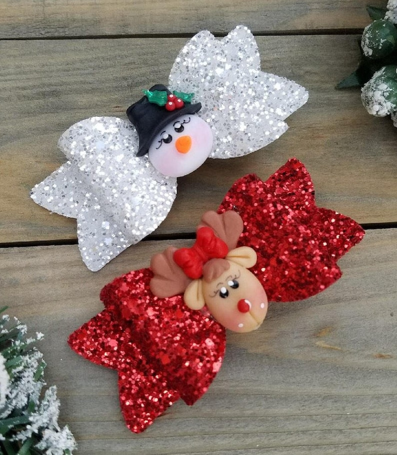Reindeer Red Glitter HairClip Babys First Christmas Red Holiday Hair Bow Rudolph Bow Headband Toddler Piggie Clips RUDOLPH REINDEER BOW