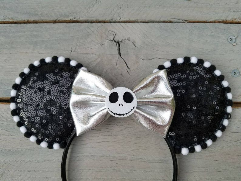 Disneyland Pom Pom Ears JACK SKELLINGTON BOW Minnie Mouse Ears Headband White /& Silver Disney Ears A Nightmare Before Christmas Black