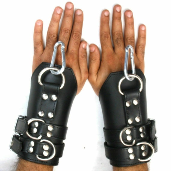 Real Genuine Heavy Leather wrist Suspension Cuffs restraint bondage Fits to All