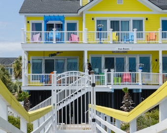 Charming beach house at the Isle of Palms in South Carolina, Ocean Prints, Beach House Prints, Isle of Palms Beach House,  Beach Houses