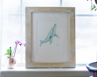 Framed Watercolor Whale Painting, 8x10 Original Painting with white mat and 11x14 light, distressed wood frame, Beach Home Wall Decorations