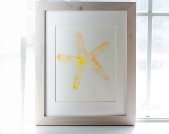 Beige Framed Tropical Starfish Watercolor Painting, 8x10 painting with a white mat and 11x14 beige frame, Vertical Wall Hangings, Paintings